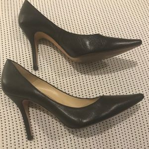Charles David Black Leather Point Toe Stiletto